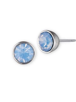 Silvertone and Blue Stone Stud Earrings