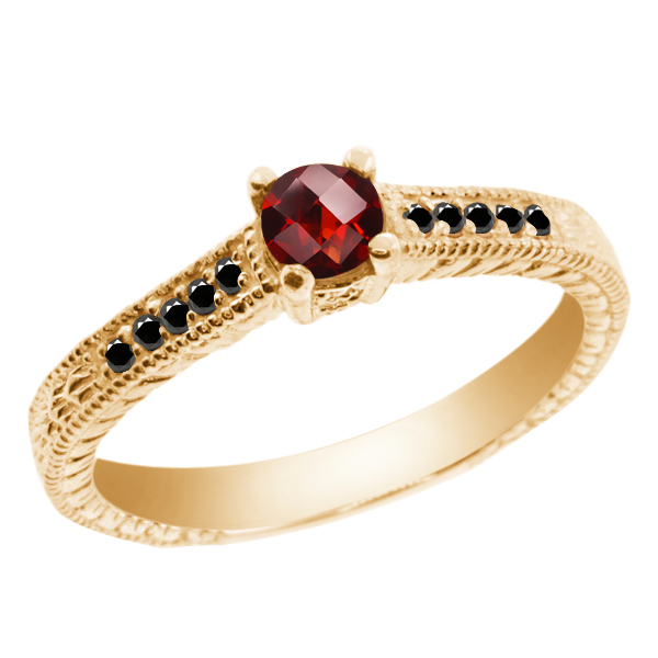 0.32 Ct Round Checkerboard Red Garnet Black Diamond 925 Yellow Gold Plated Silver Ring