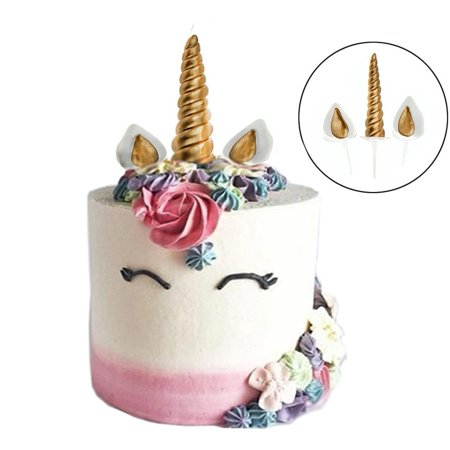 Unicorn Cake Topper Reusable Horn Ears And Eyelashes Party Decoration Value Set