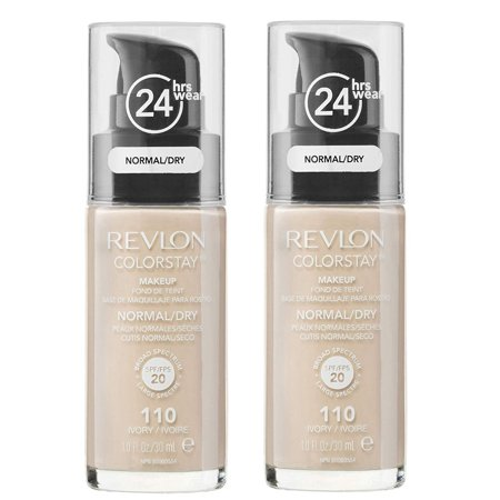 Revlon Colorstay Makeup Foundation for Normal To Dry Skin, #110 Ivory (Pack of 2) + Facial Hair Remover Spring