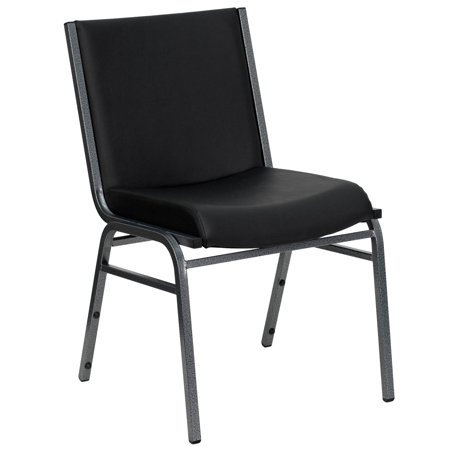 Flash Furniture HERCULES Series Heavy Duty, 3'' Thickly Padded, Black Vinyl Upholstered Stack Chair with Ganging (Custom Brackets Flash)