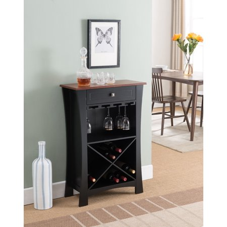 Jasper Black & Natural Wood Transitional Wine Rack Buffet Display Stand With Cup Holders, Drawer & Shelves (White Wine Tower)