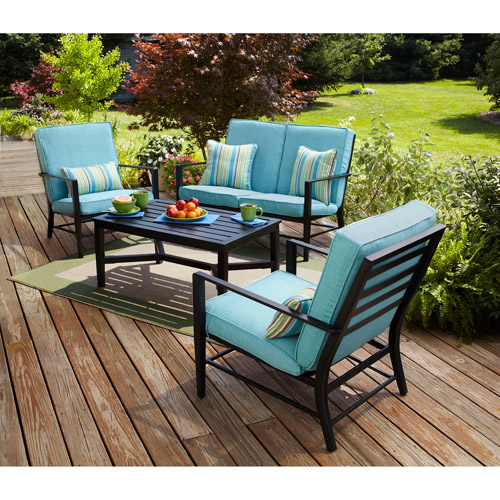 Mainstays Rockview 4 Piece Patio Conversation Set, Seats 4