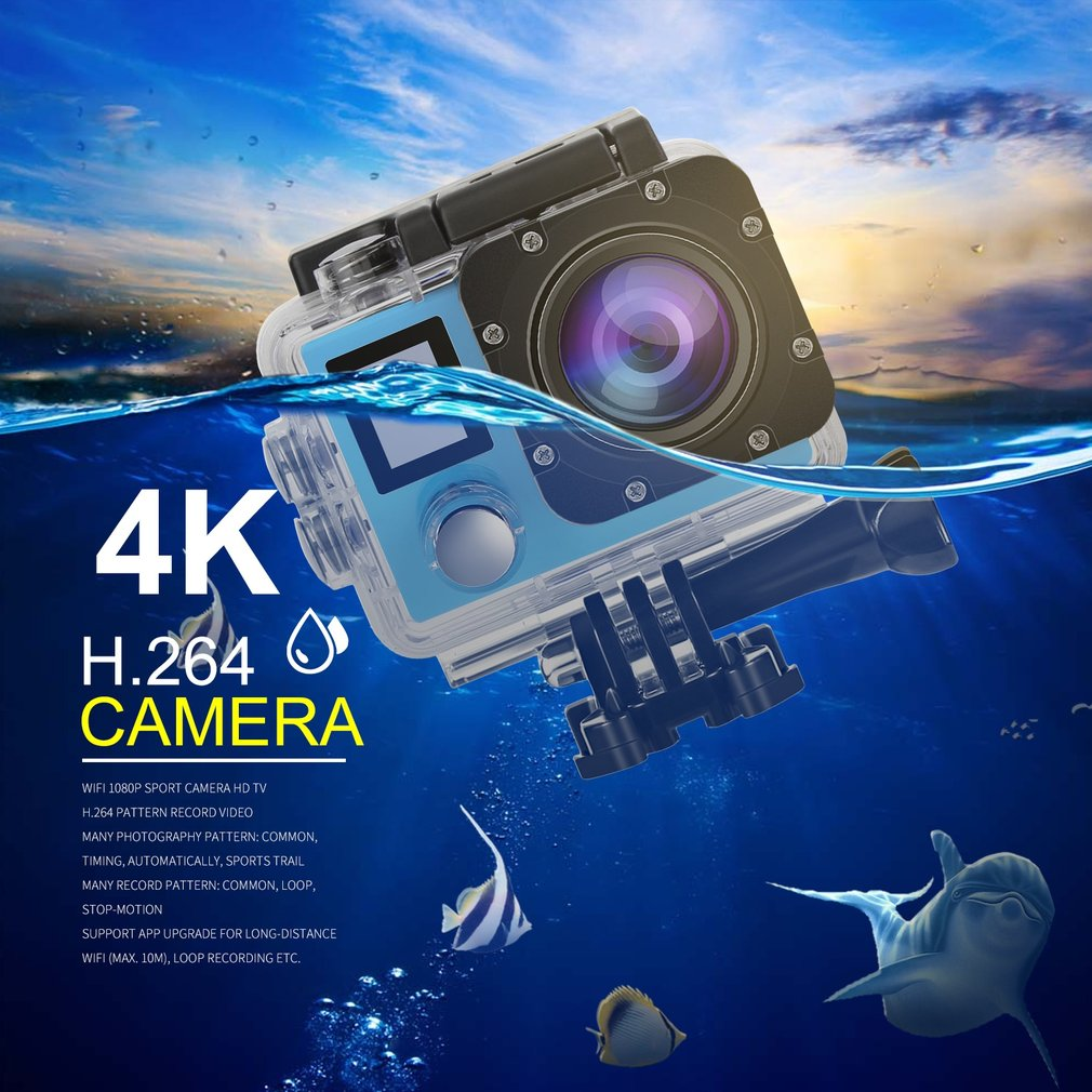 4K WIFI Sports Action Camera, Ultra HD Waterproof Cam DV Camcorder with 16MP Remote Control 30M 170 Degree Wide Angle 2.0 Inch LCD 100 Feet Underwater