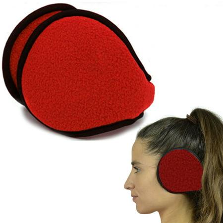 1 Red Ear Muff Warmers Winter Basic Polar Fleece Earmuff Grip Wrap Soft Unisex