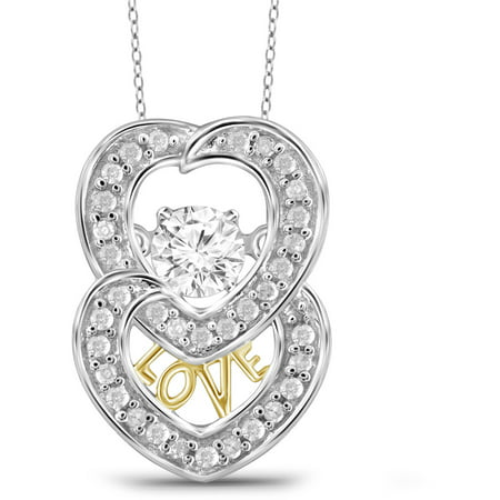 2 Tone Diamond Heart - 1/4 Carat T.W. White Diamond 2-tone 10kt White Gold Double Heart Pendant
