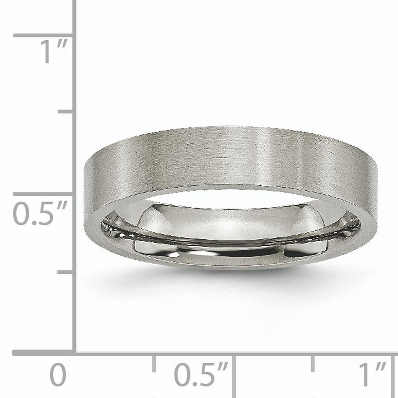 Titanium Flat 5mm Brushed Wedding Ring Band Size 10.00 Classic Fashion Jewelry Gifts For Women For Her - image 5 of 7