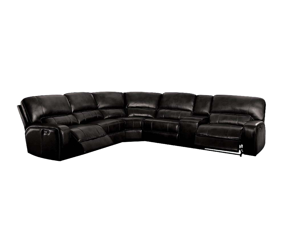 Acme Furniture Saul Power Reclining Sectional Sofa with USB Dock, Black Leather-Aire by Acme Furniture