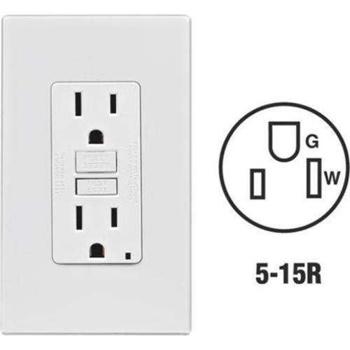 Leviton Mfg C36-GFNT1-0PT Self-Test 15A GFCI Outlet With Screwless Wall Plate, Light Almond