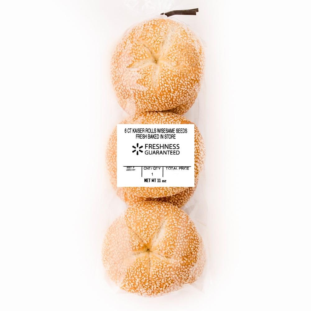 Freshness Guaranteed Sesame Seed Kaiser Rolls, 11 oz, 6 Count