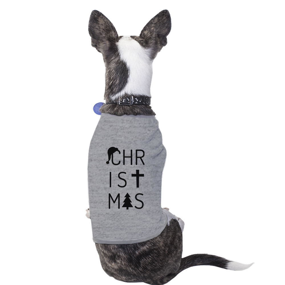 Letters Christmas Outfit For Pet Cute Small Pet Shirt Grey Cotton