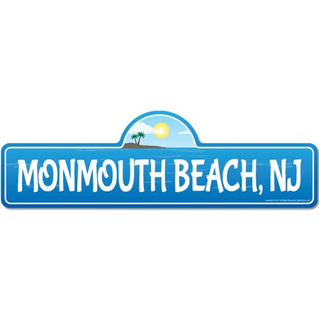 Monmouth, NJ New Jersey Beach Street Sign | Indoor/Outdoor | Surfer, Ocean Lover, Décor For Beach House, Garages, Living Rooms, Bedroom | Signmission Personalized