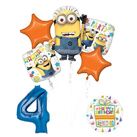 Despicable Me 3 Minions 4th Birthday Party Supplies and balloon Decorations - Minion Ballons