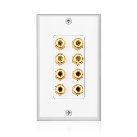 Audio Distribution System (Home Theater Speaker Wall Plate Outlet - 4 Speaker Sound Audio Distribution Panel Gold Plated Copper Banana Plug Binding Post Connector Insert Jack Coupler (4 Pair, Single Gang, White))