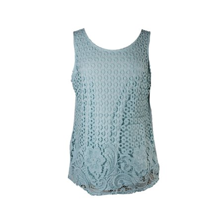 Charter Club Mint Sleeveless Aqua Mixed Lace-Front Top  (Aqua Skirt)