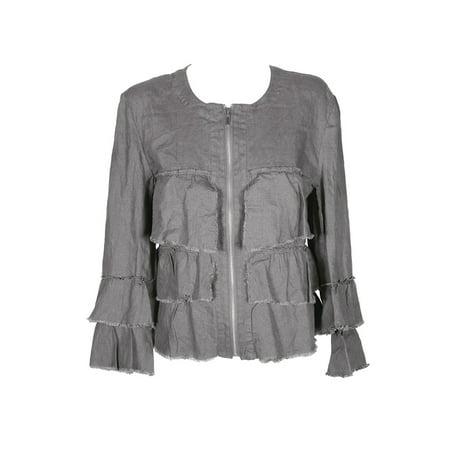 Inc International Concepts Sky Grey Linen Ruffled Jacket M