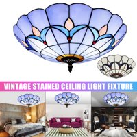 Meigar Creative Ceiling Lamp Vintage Simple Style Stained Glass Flush Mount Lamp Ceiling Pendant Light Fixture For Cafe Restaurant Indoor Room Lighting Home Decor