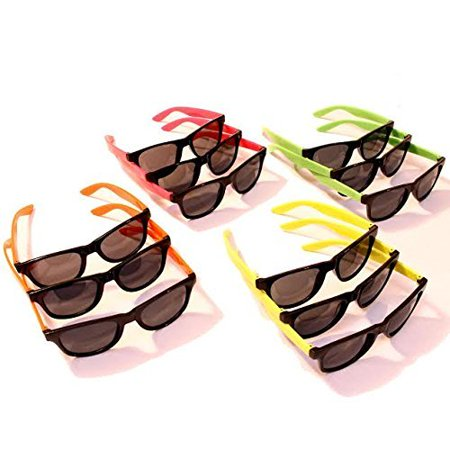 Dazzling Toys 24 Pairs Neon 80's Wayfarer Sunglasses Kids Party Favors 4.5 Inch - Pack of 24 - Kids Sunglasses Party Favors