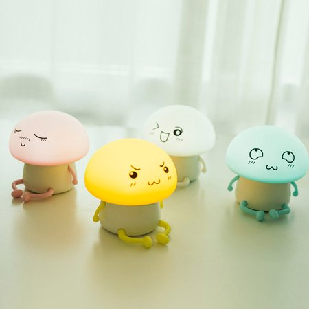 LED Lovely Cartoon Q Baby Atmosphere Silicone Night Light for Home Desk Decor yellow Dry battery ()