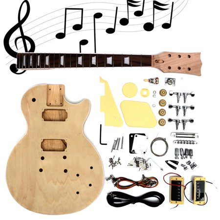 Electric Guitar Kit DIY Solid Mahogany Wood Unfinished Guitar Parts Handcraft -  Build Your Own Guitar