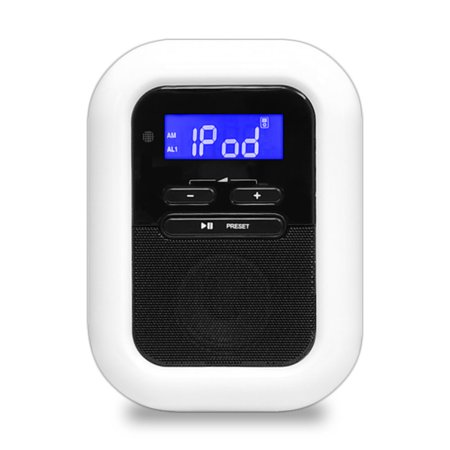 PYLE PICL36B - iPod iPhone Dock Clock Radio with FM Radio, LED Nightlight, Dual Alarm Clock & AUX Input for Samsung Galaxy, iPhone 5 and Other