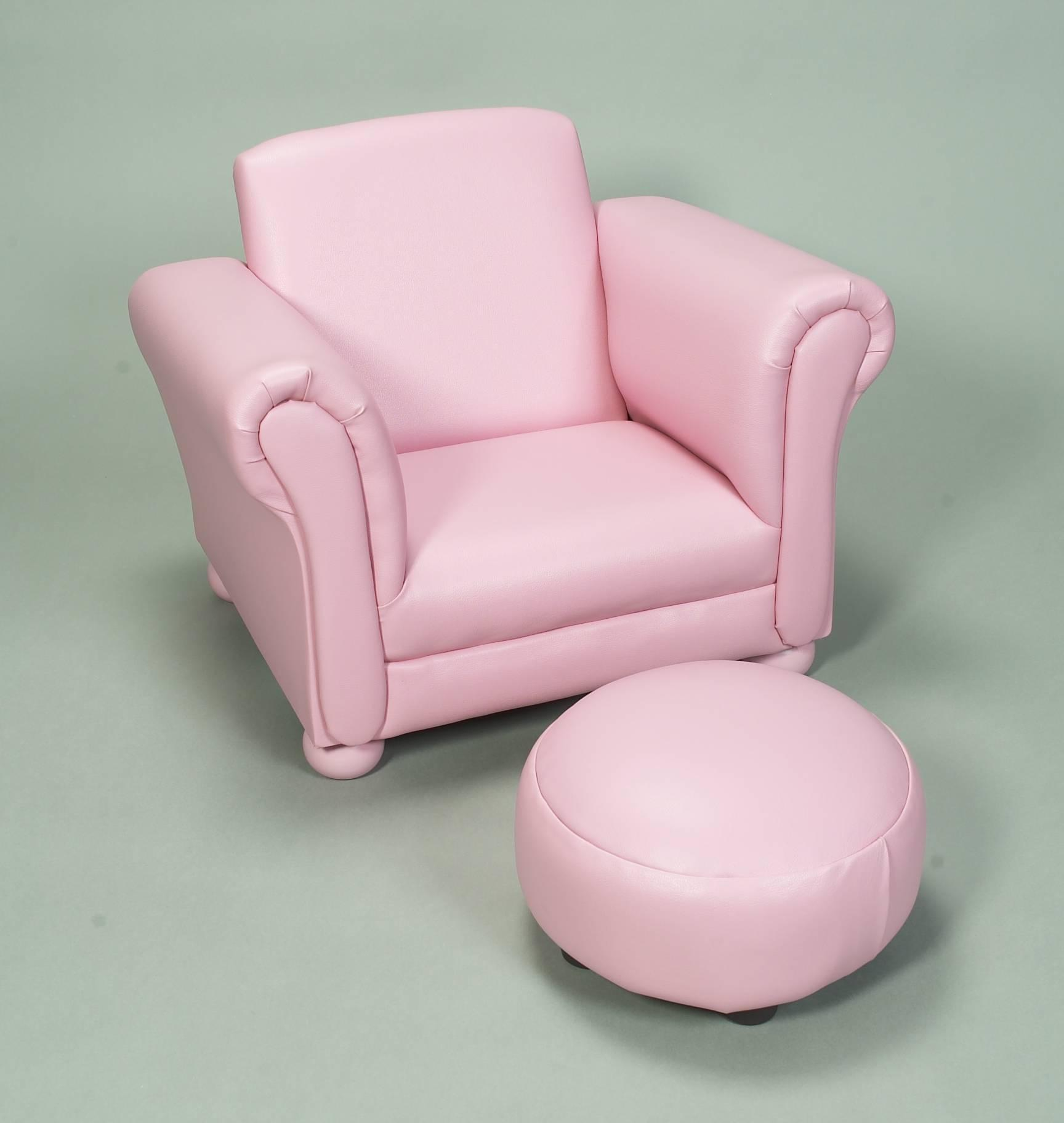 Gift Mark Child's Upholstered Chair w/ Ottoman-Color:Pink
