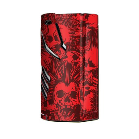 Skin Decal Vinyl Wrap for Smok T-Priv 3 Kit 300w TC Vape skins stickers cover / Red Punk Skulls Liberty (Thread Spikes)