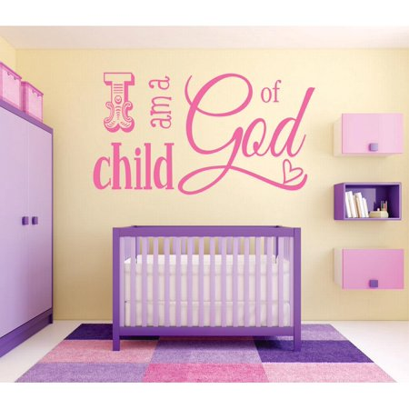 Living Room Art I Am A Child Of God Kids Baby Boy Girl Bible Quote ...