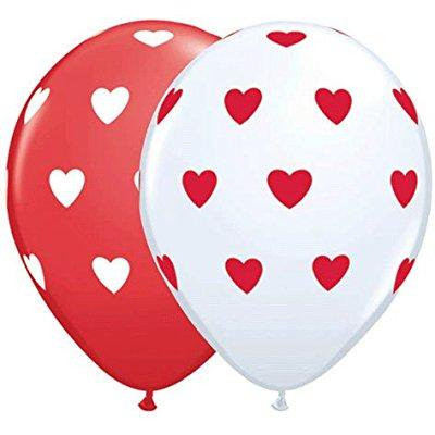 11 inch big hearts red & white balloons -100ct - Red Heart Balloons