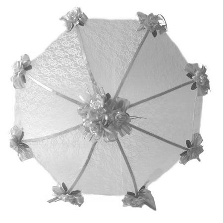 Profoto Silver Umbrella (PFP Decorated Bridal Shower White Lace Umbrella Parasol 36