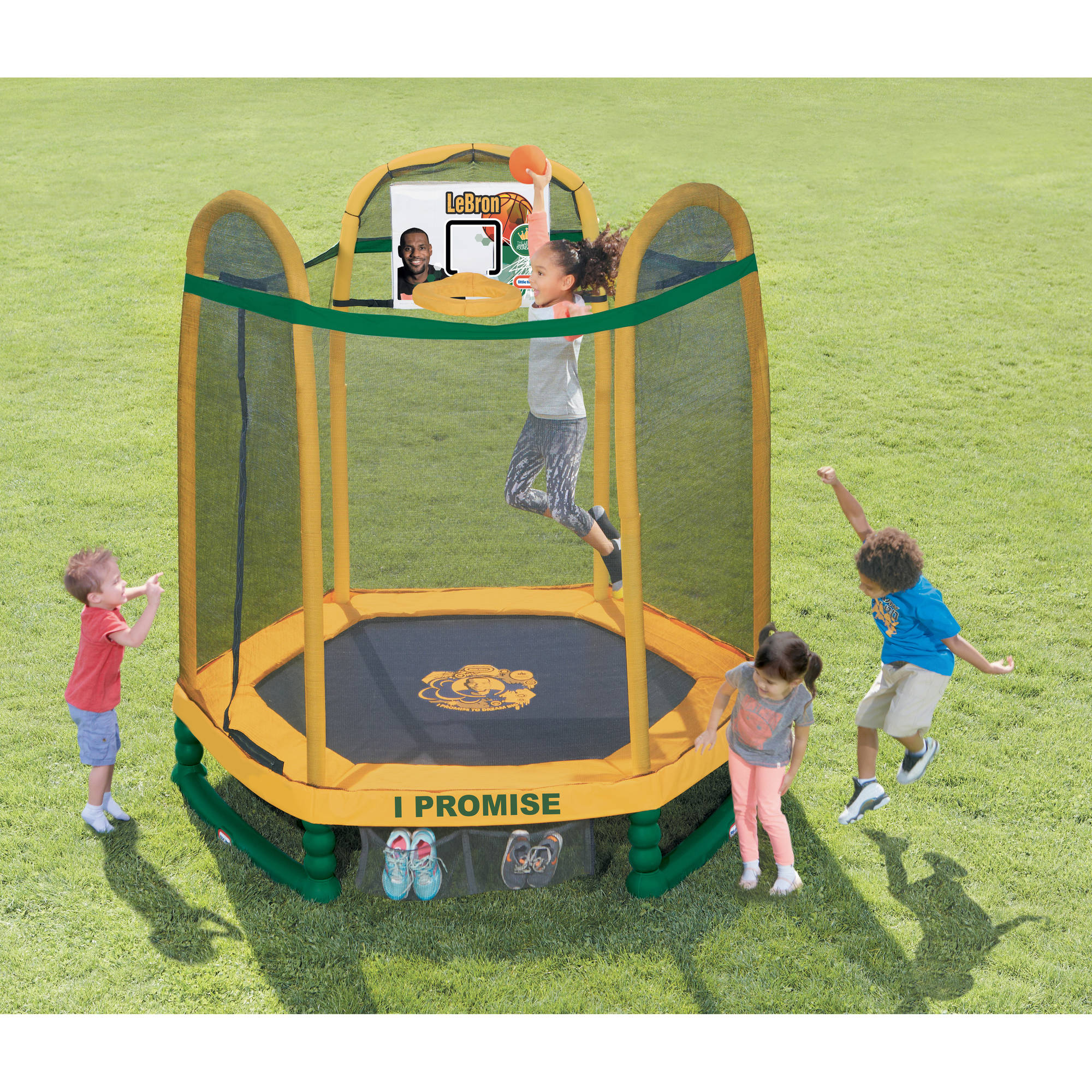Little Tikes 7-Foot LeBron James Family Foundation Dream Big Trampoline, with Safety Enclosure and Padded Frame, Yellow