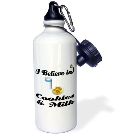 3dRose I Believe In Cookies And Milk, Sports Water Bottle, 21oz