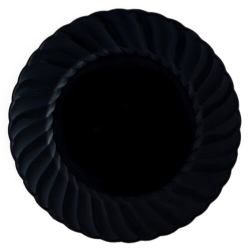 "Kaya Collection - Disposable Black Plastic Round 9"" Buffet Plates - 2 Pack (36 Plates)"