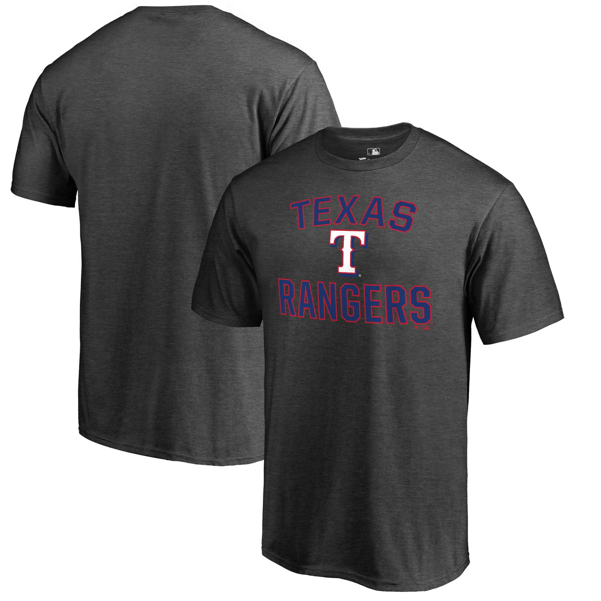 Texas Rangers Fanatics Branded Core Basics Victory Arch T-Shirt - Heathered Gray