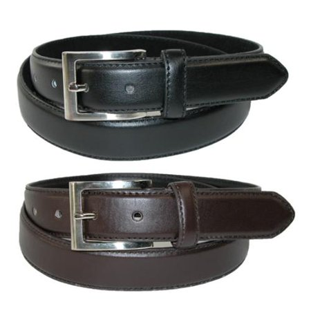 Men's Big & Tall Leather Dress Belt with Silver Buckle (Pack of 2) ()