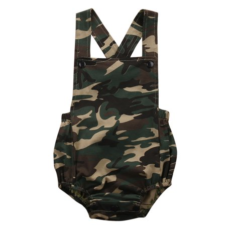 Infant Baby Boy Girl Romper Camouflage Bodysuit Jumpsuit Sleeveless Outfits Set