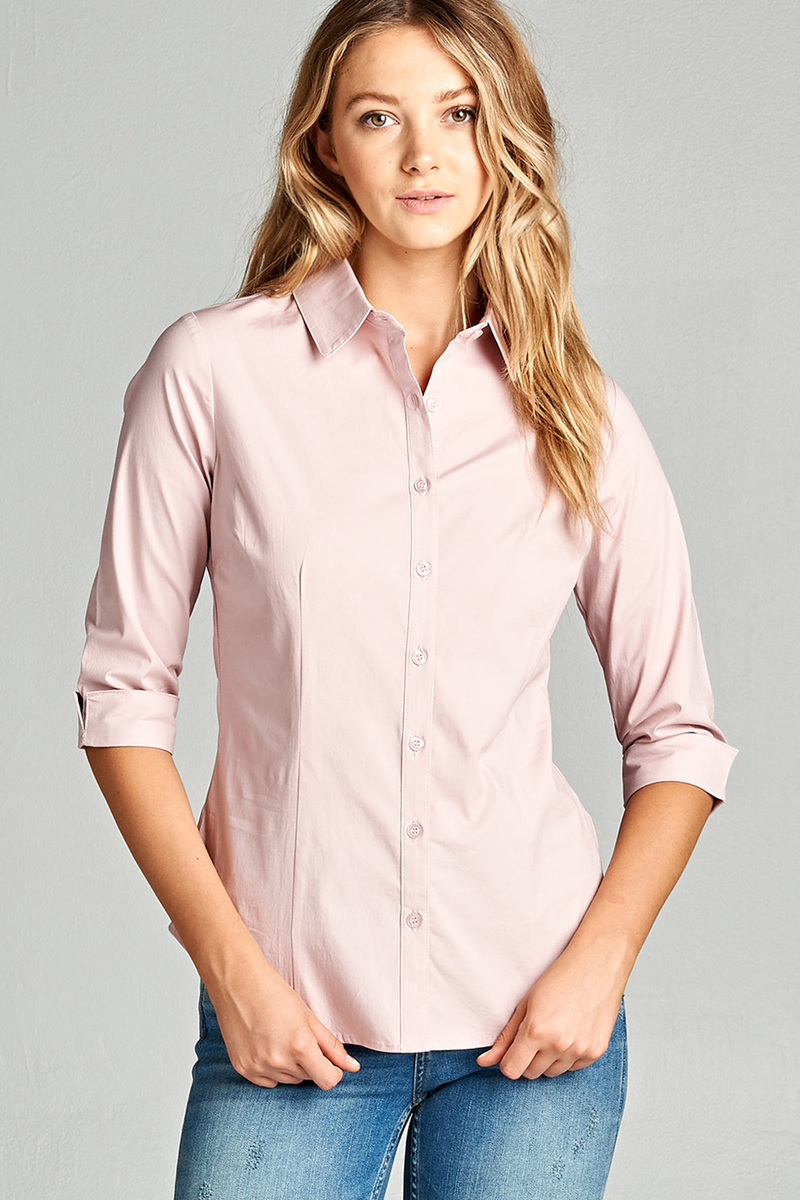Active Basic Womens Classic 34 Sleeve Button Down Dress Work