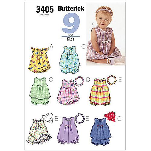 Butterick Pattern Infants' Dress, Top, Romper, Panties, Hat and Headband, NB0 (NB, S, M)