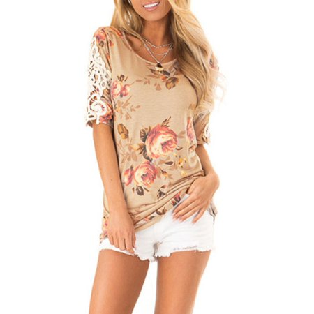 Womens Ladies Summer Floral Short Sleeve Blouse Tops Casual Party Tee T-shirt