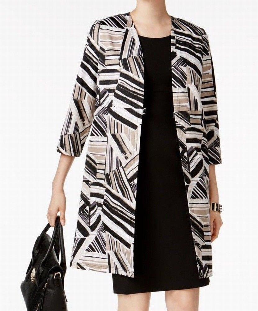 Kasper NEW Black Clay Womens Size 4P Petite Abstract-Print Jacket