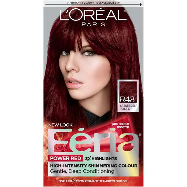 L Oreal Paris Feria Multi Faceted Shimmering Permanent Hair Color R48 Red Velvet Intense Deep Auburn 1 Kit Walmart Com Walmart Com