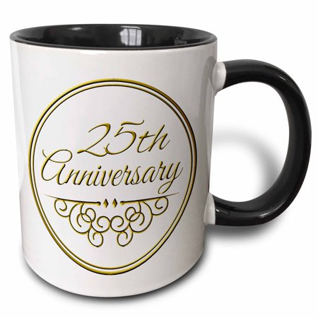 3dRose 25th Anniversary gift - gold text for celebrating wedding anniversaries - 25 years married together - Two Tone Black Mug, 11-ounce