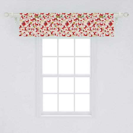 Image of Christmas Window Valance, Cartoon Design Santa Claus Bringing Surprise Boxes Mistletoe Gingerbread Print, Curtain Valance for Kitchen Bedroom Decor with Rod Pocket, by Ambesonne