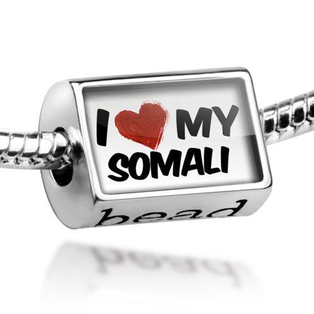 Bead I Love my Somali Cat from United States Charm Fits All European Bracelets