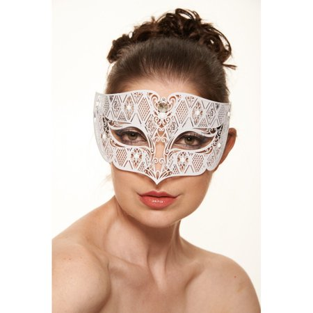 KAYSO INC BD008WH LUXURY ROMAN GUARD FILIGREE LASER CUT METAL MASK (WHITE WITH CLEAR RHINESTONES)