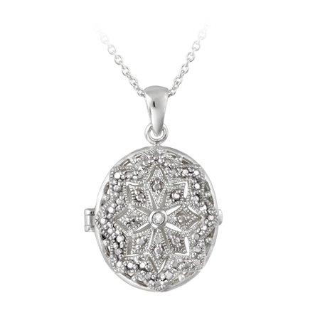 Diamond Accent Filigree Oval Locket Necklace