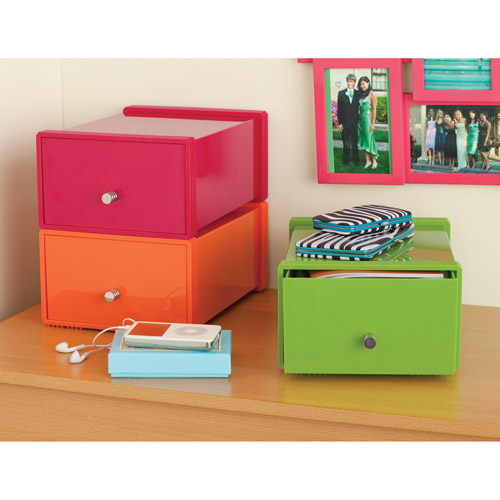 Your Zone Plastic Stackable Drawer, Pink