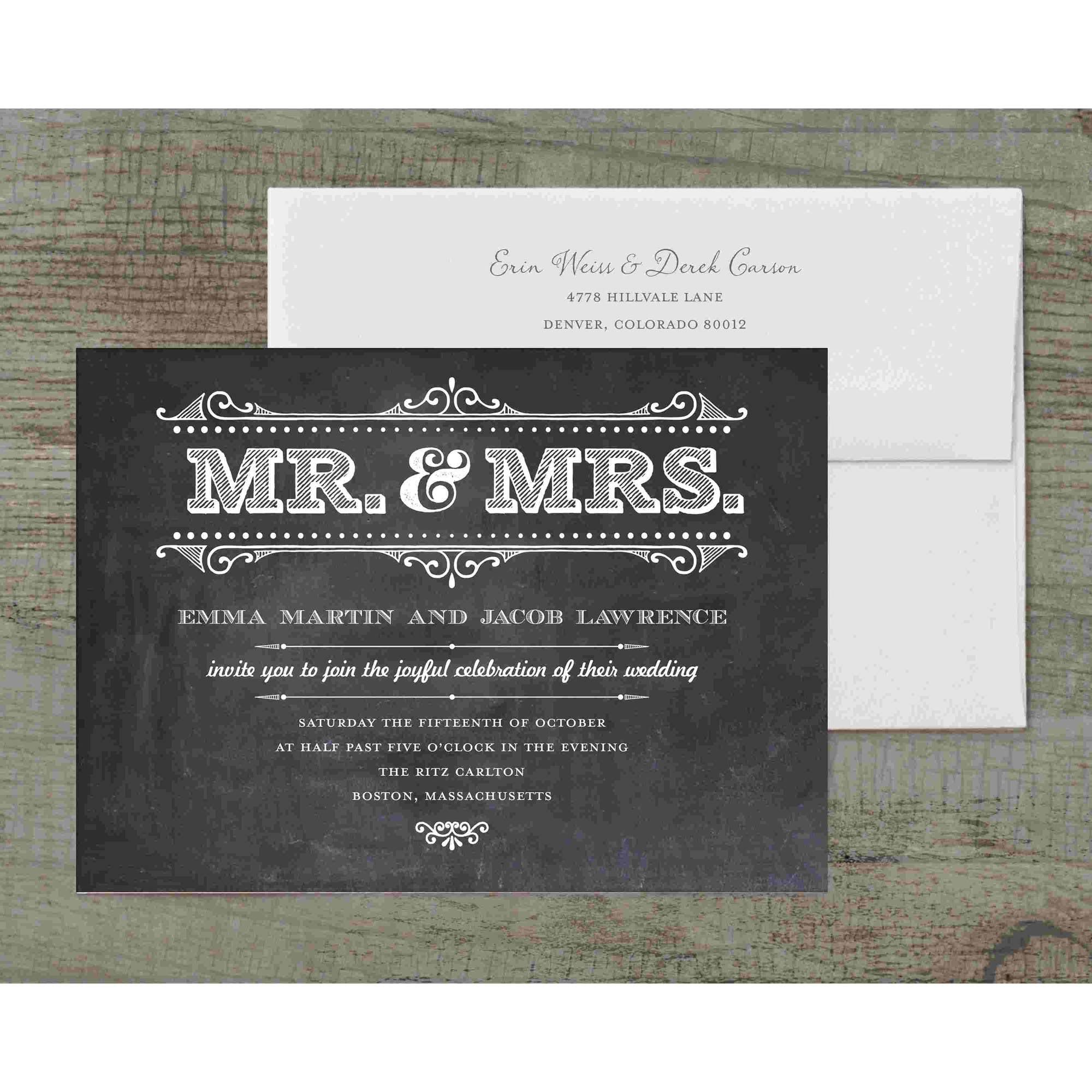 Mr and Mrs Rustic Deluxe Wedding Invitation - Walmart.com