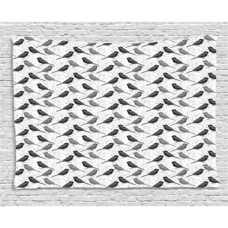 Birds Tapestry, Silhouette of Damask Patterned Northern Mockingbirds on Fluctuating Leaves, Wall Hanging for Bedroom Living Room Dorm Decor, 80W X 60L Inches, Grey Black White, by Ambesonne ()