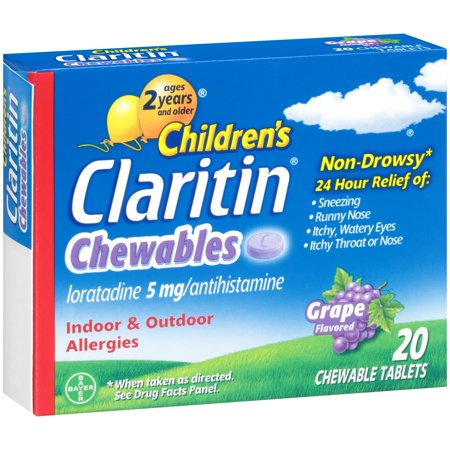 Children's Claritin ® Chewables 24 Hour Non-Drowsy Indoor & Outdoor Allergies Grape Flavored Antihistamine Chewable Tablets 20 ct Box